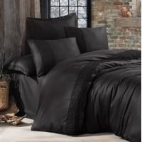 Черное постельное белье сатин с кружевом GIZA V2 ARAN CLASY Турция