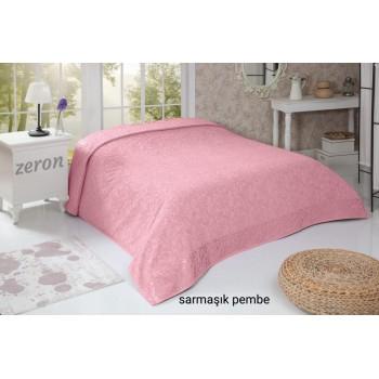Турецкая махровая простынь покрывало SARMASIK DESEN розовый