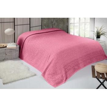 Турецкая махровая простынь покрывало SALKIM DESEN розовое