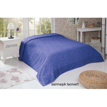 Турецкая махровая простынь покрывало SARMASIK DESEN синий
