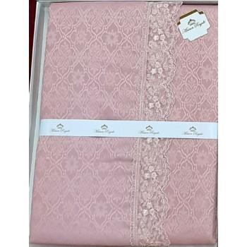 Турецкая скатерть на стол с кружевом розовая К.Д.К. PUDRA 160x300