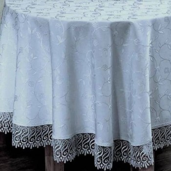 Скатерть на круглый стол с кружевом Gri полиэстер Турция