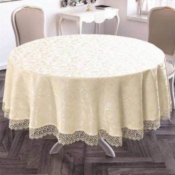 Скатерть на круглый стол с кружевом Crem полиэстер Турция