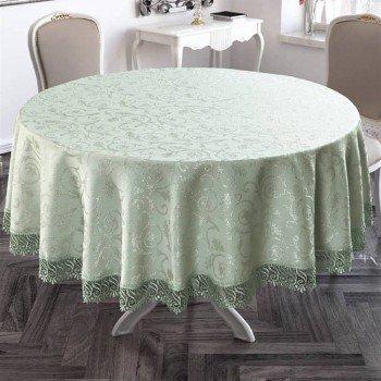 Скатерть на круглый стол с кружевом Mint полиэстер Турция