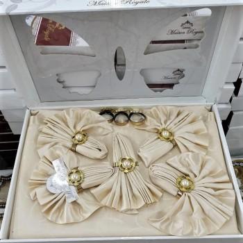 Скатерть с салфетками ROZALITE SET CAPUCCINO