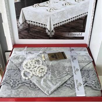 Скатерть с салфетками COTTON SET GREY