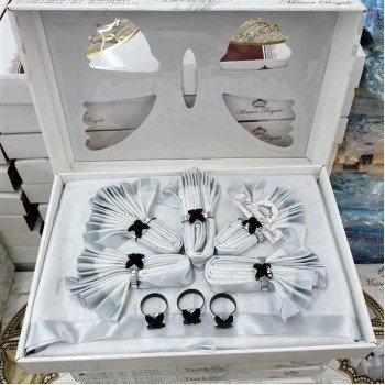 Скатерть с салфетками и кольцами Rozalite Set Silver полиэстер Турция