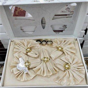 Скатерть с салфетками и кольцами Rozalite Set Capuccino полиэстер Турция