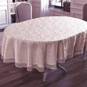 Овальная скатерть на стол с кружевом Pudra полиэстер Турция