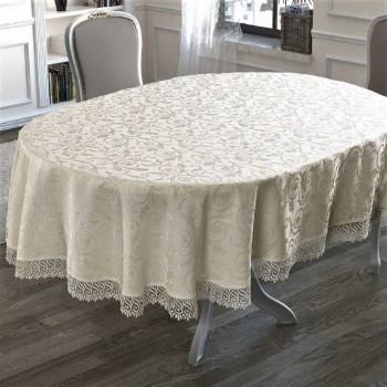 Скатерть на овальный стол с кружевом Cappuccino полиэстер Турция