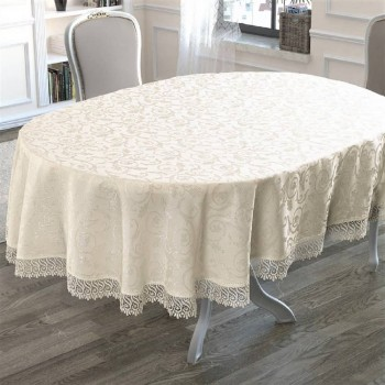 Скатерть на овальный стол с кружевом Crem полиэстер Турция