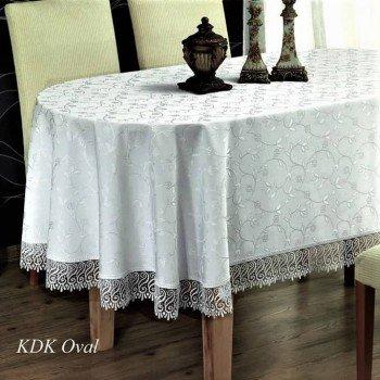 Скатерть на овальный стол с кружевом Gri полиэстер Турция