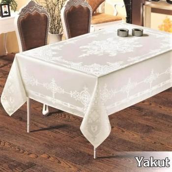 Тефлоновая скатерть на стол YAKUT CREM прямоугольная, Турция