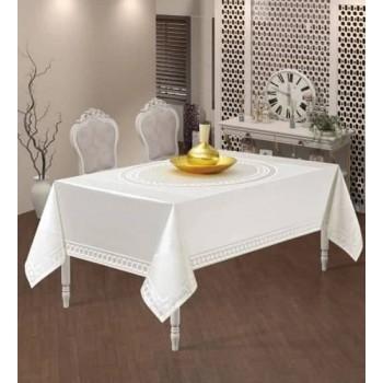 Тефлоновая скатерть на стол JASMIN BEYAZ прямоугольная, белая, Турция