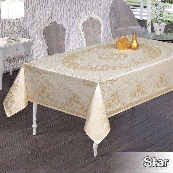 Тефлоновая скатерть на стол STAR BEYAZ прямоугольная, Турция