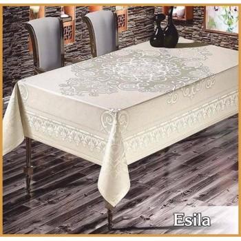 Тефлоновая (водоотталкивающая) скатерть на стол ESILA BEYAZ