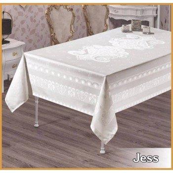 Тефлоновая скатерть на стол JESS BEYAZ белая, прямоугольная, Турция