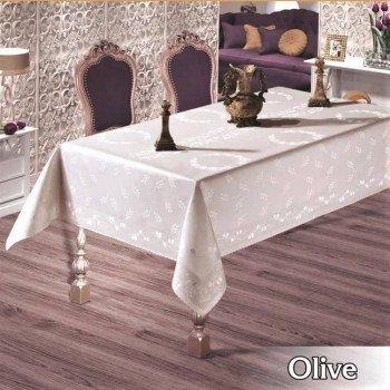 Тефлоновая скатерть на стол OLIVE CREM прямоугольная, Турция