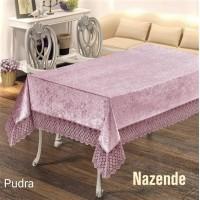 Скатерть велюр-жаккард с кружевом Nazende Pudra Турция