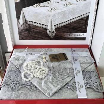 Скатерть с салфетками велюровая Cotton Set Grey Турция