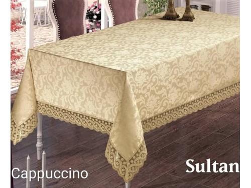 Жаккардовая скатерть с кружевом Sultan Cappuccino Турция 14340 от MAISON ROYALE в интернет-магазине PannaTeks