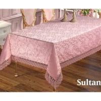 Жаккардовая скатерть с кружевом Sultan Pudra розовая Турция