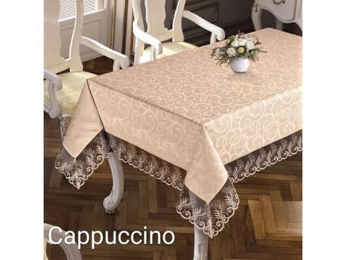Жаккардовая скатерть с кружевом Melisa Cappuccino Турция 16050 от MAISON ROYALE в интернет-магазине PannaTeks