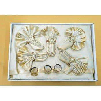 Скатерть с салфетками и кольцами Rozalite Set Gold полиэстер Турция